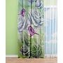 OYO Home SL FPR 36AS New 240cm Pink Birds and Roses-Green Curtains 140cm
